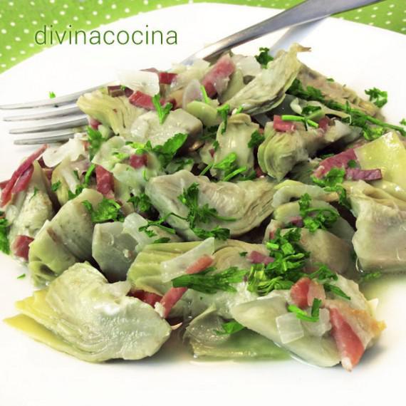 Alcachofas con jamon salteadas divina cocina for Tecnicas gastronomicas pdf