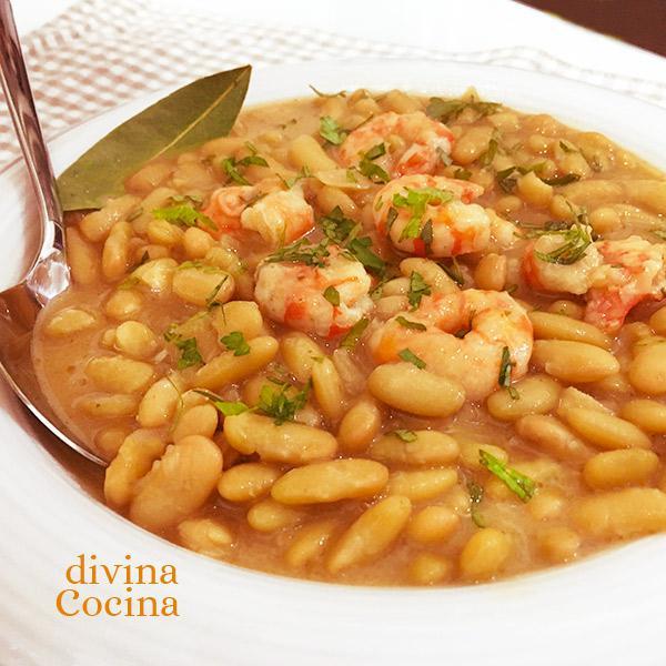 Como Cocinar Alubias | Receta De Alubias Con Langostinos Divina Cocina