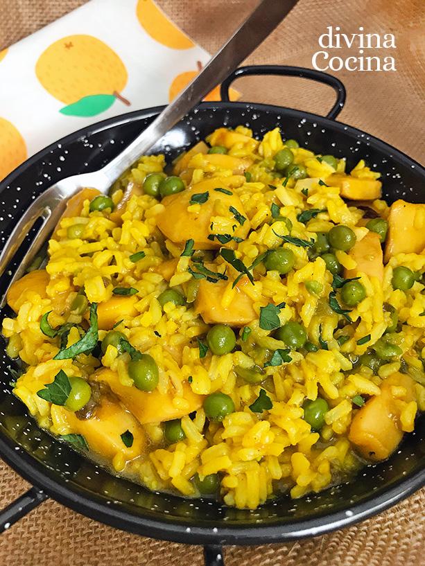 arroz en amarillo con setas