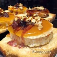 Canapés de queso de cabra y frutos secos