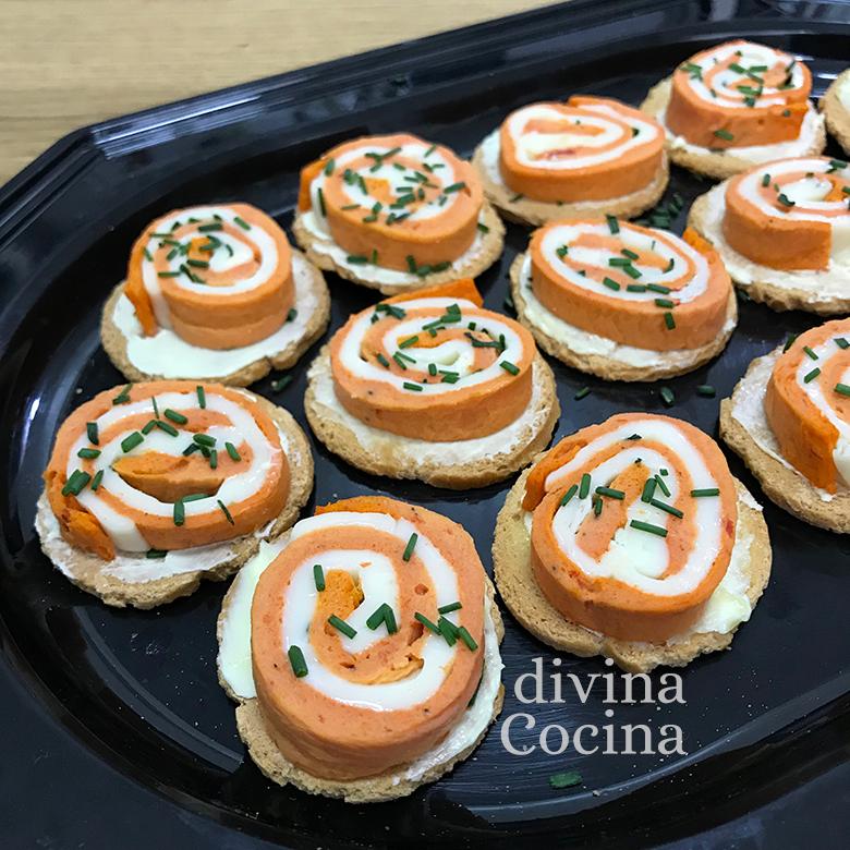 canapes espirales queso pimiento