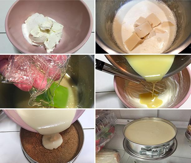 cheesecake chocolate blanco paso a paso