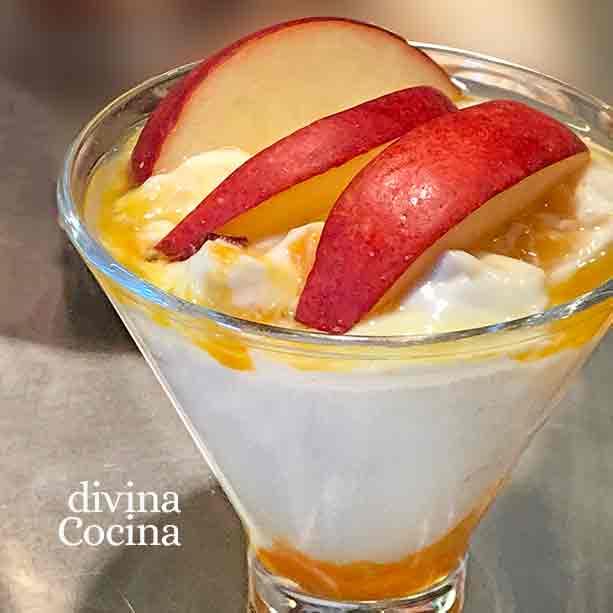 crema facil yogur con manzana
