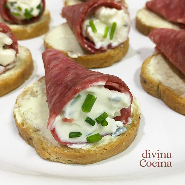 receta de cucurucho de salami