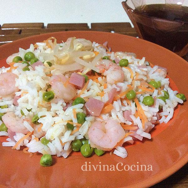 Ensalada de arroz tres delicias en Ensalada de bacalao y tres verduras