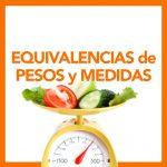 Tablas de equivalencias de pesos y medidas