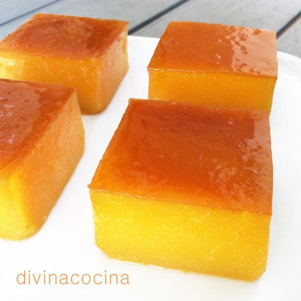 Falso tocinillo de naranja en Falso suflé de pescado
