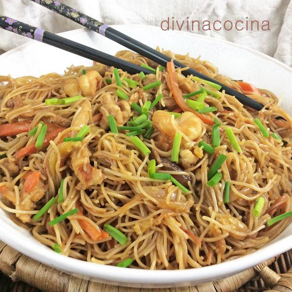 fideos de arroz salteados divina cocina