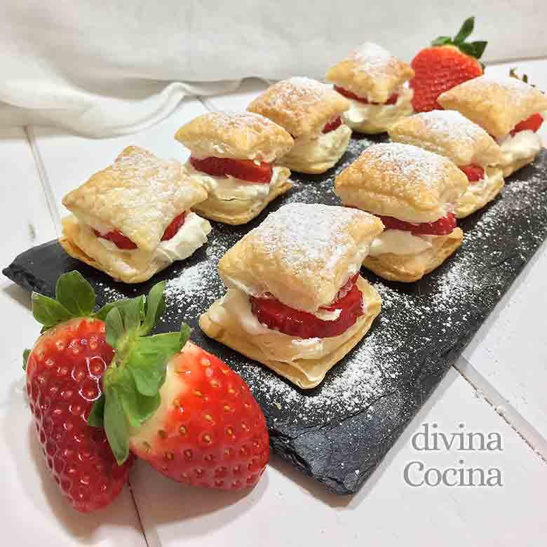 receta hojaldres de fresas con nata