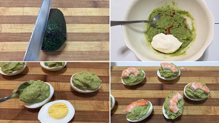 huevos rellenos guacamole paso a paso