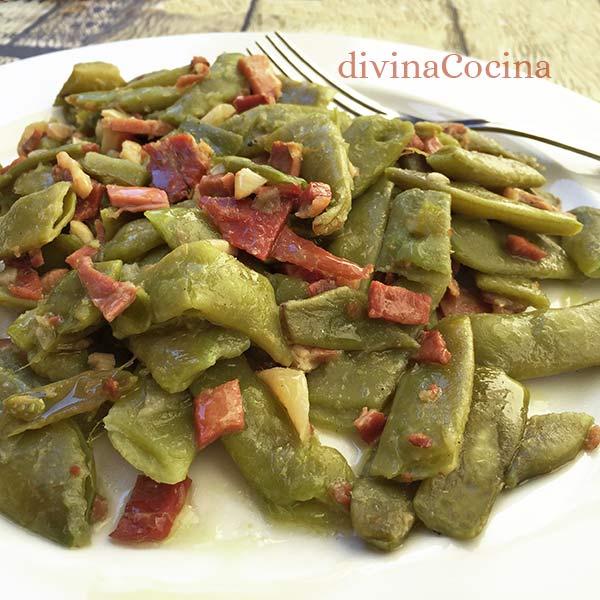 judias-verdes-salteadas-con-jamon-plato