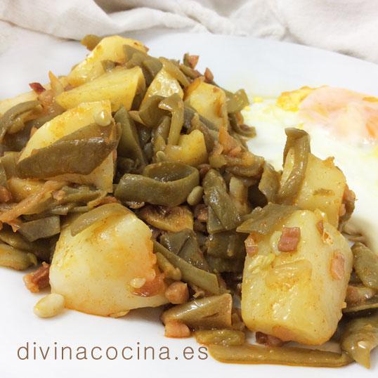 Judías verdes salteadas con patatas