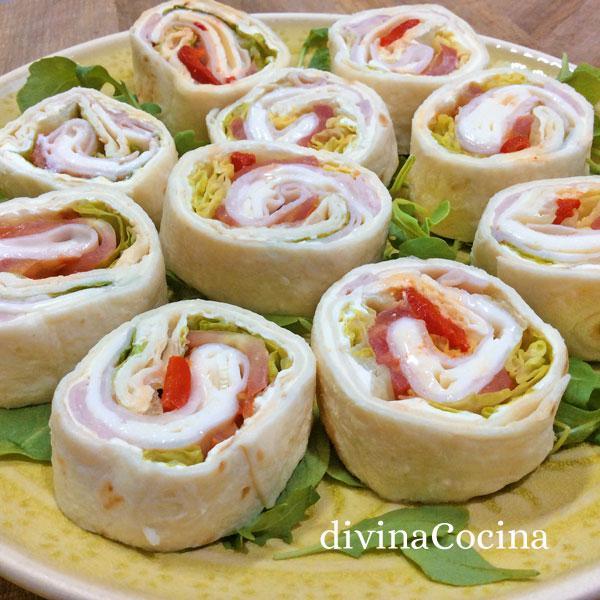 Receta de mini wraps para aperitivos divina cocina for Platos para aperitivos