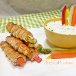 Palitos de hojaldre y verduras