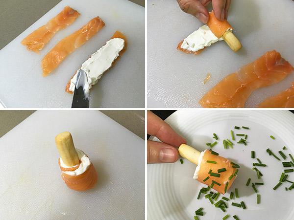 receta de canapes con palitos de salmon