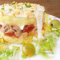 Pastel de patata y atún con mayonesa