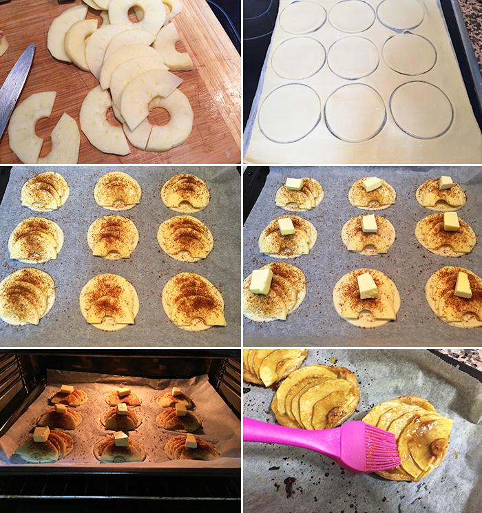 pasteles de manzana y hojaldre