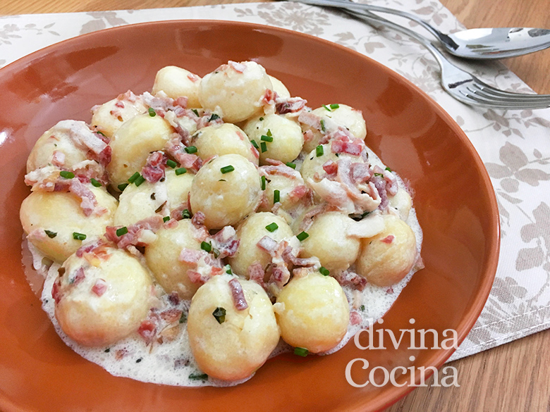 Receta de patatas a la carbonara salteadas o al horno for Cenas frias canal cocina