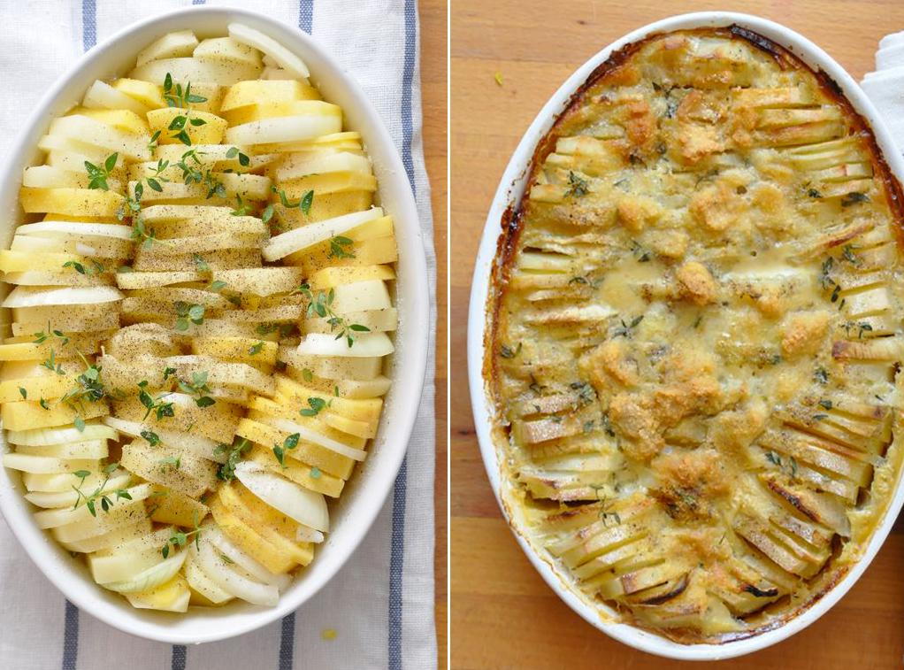 patatas gratinadas cebolla y queso detalle