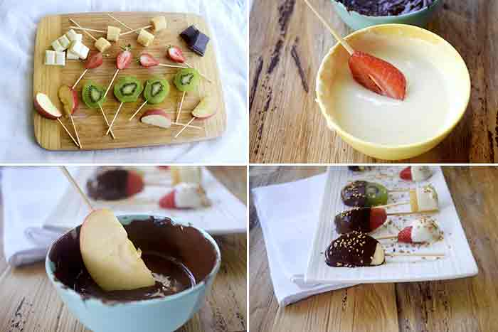 piruletas de frutas y chocolate paso a paso