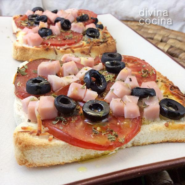 Mini pizzas rápidas en pan de molde