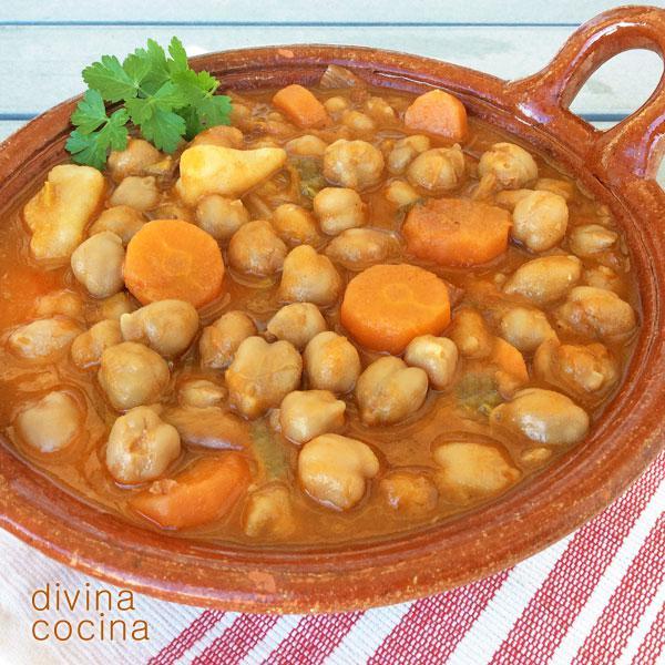 Receta de potaje de garbanzos y verduras divina cocina - Potaje de garbanzos y judias ...