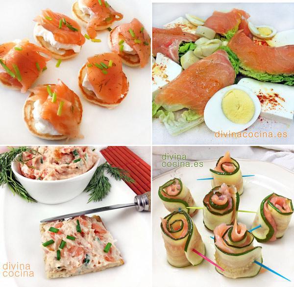 tapas con salmon ahumado faciles