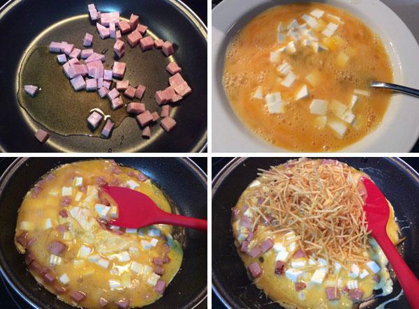 revuelto-de-patatas-jamon-y-queso-paso-a-paso