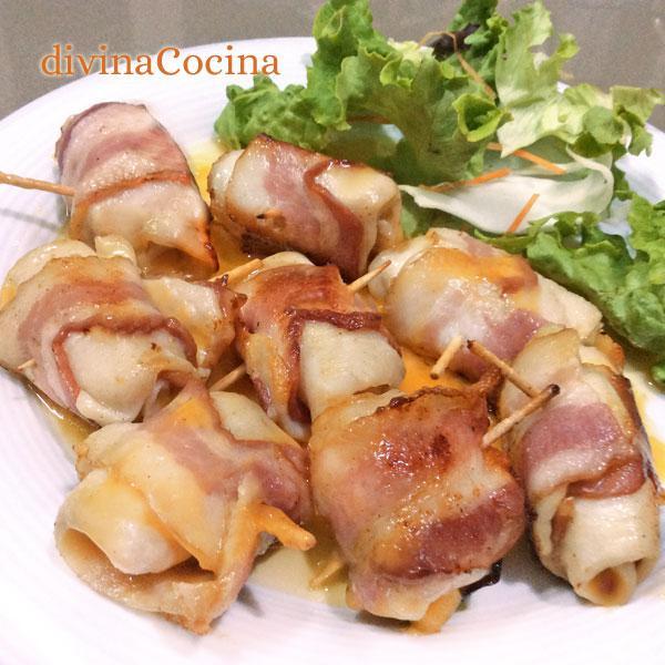 receta de rollitos de pollo,bacon y queso