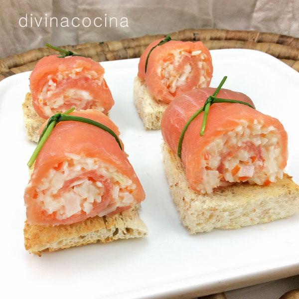 Rollitos de salm n ahumado rellenos divina cocina for Canape de cangrejo
