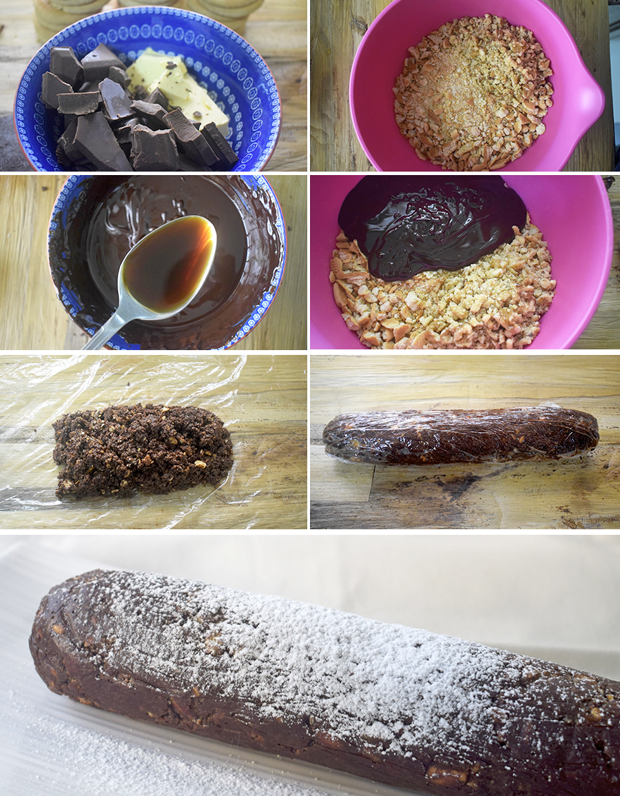 salchichon de chocolate paso a paso