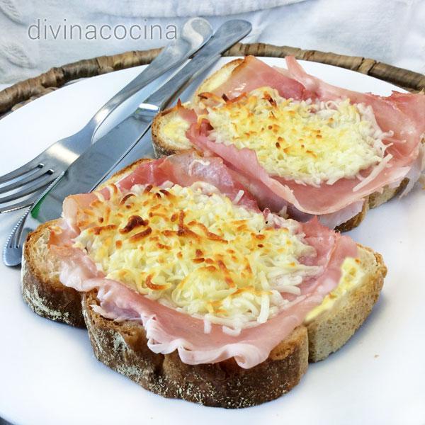 Sándwich mixto abierto y gratinado
