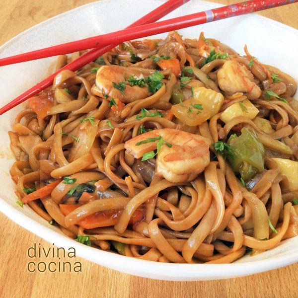 Receta de tallarines con gambas al estilo chino divina - Como hacer verduras salteadas ...