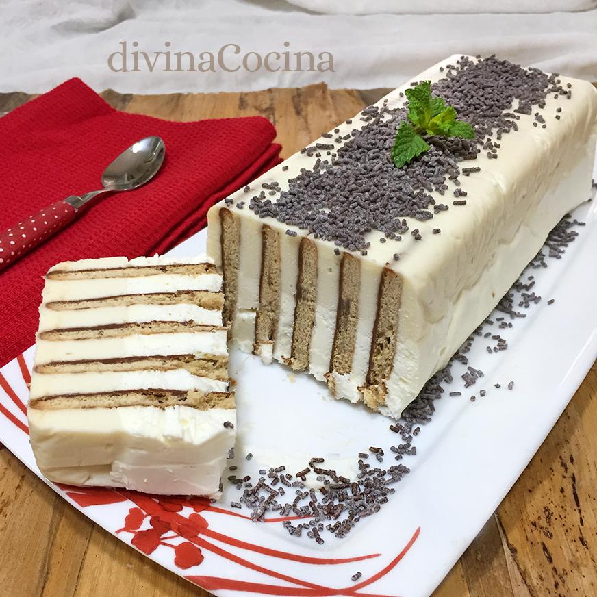 tarta de galletas vertical nata y chocolate