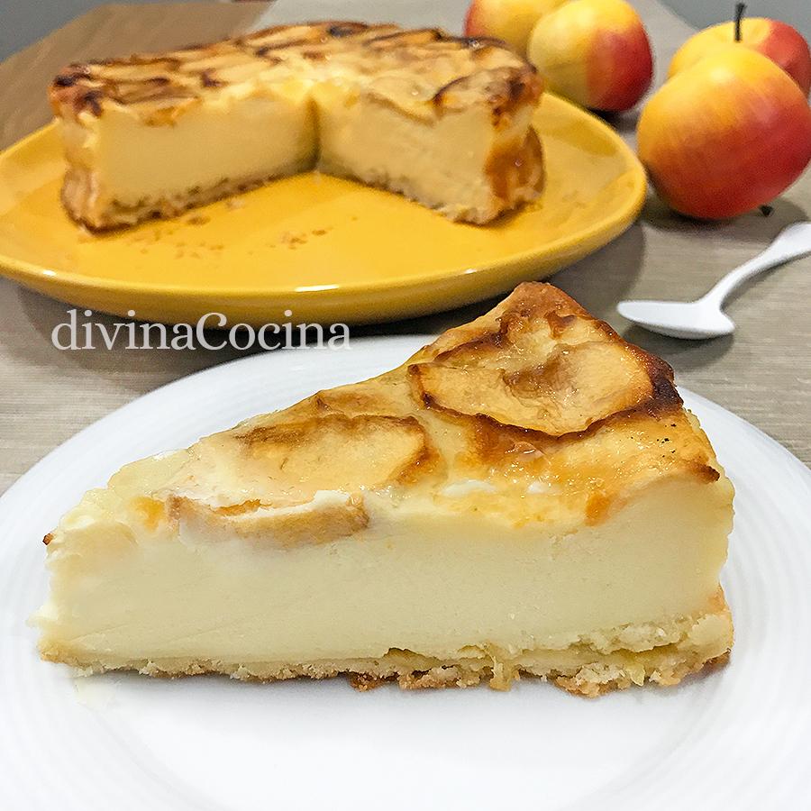 tarta de manzana porcion plato