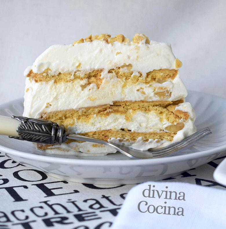 receta de tarta helada de nata y nueces