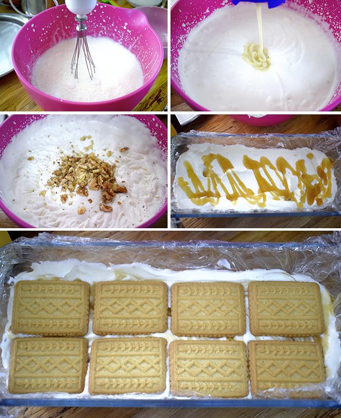 tarta helada de nata y nueces