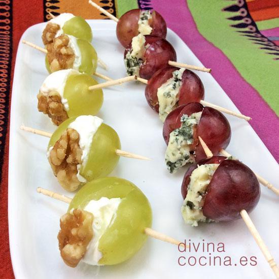 Uvas rellenas de queso divina cocina for Tapas originales para sorprender