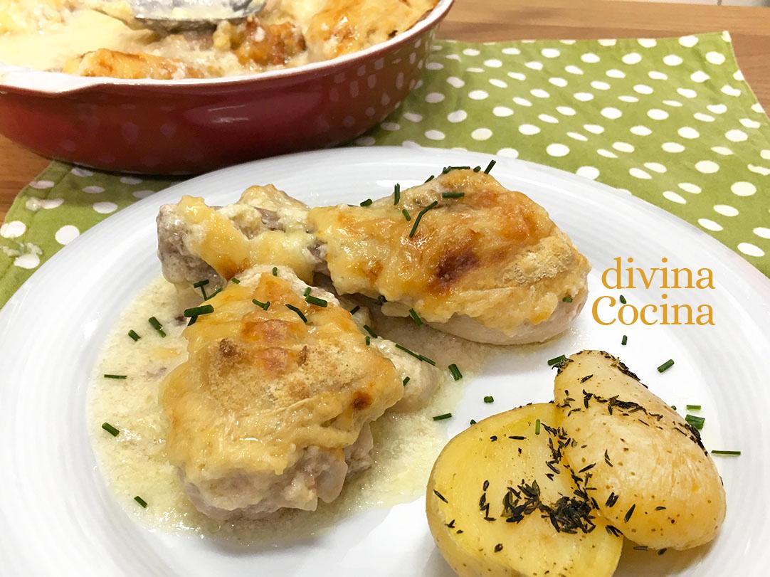 receta jamoncitos de pollo al horno gratinados