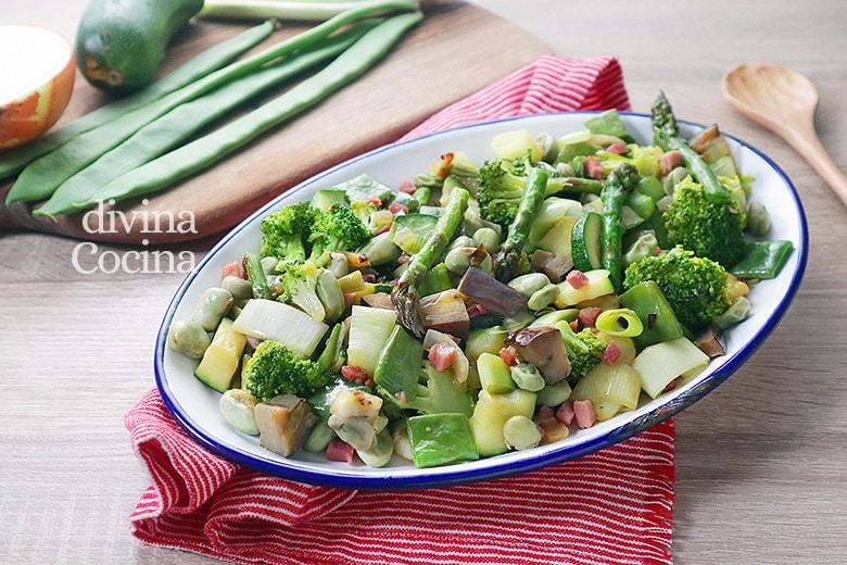 salteado de verduras con jamon
