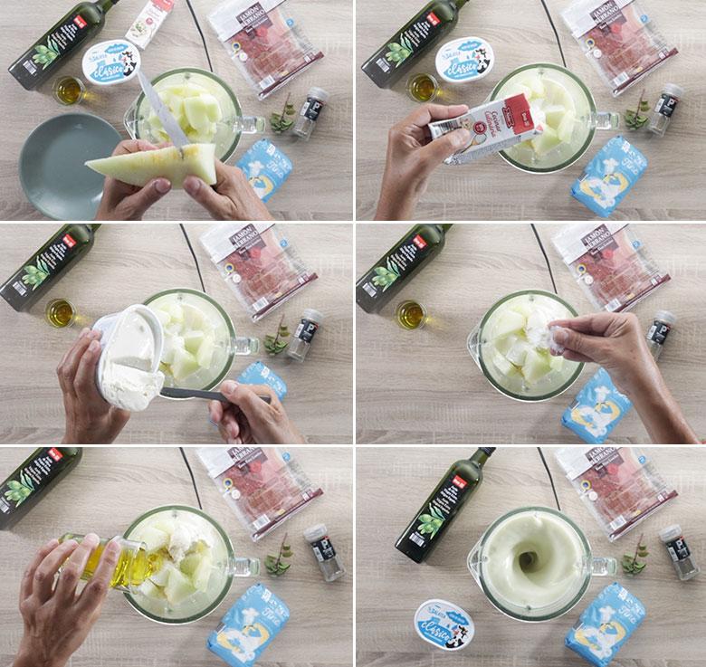 crema de melon paso a paso