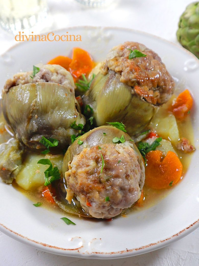 alcachofas rellenas de carne