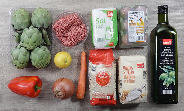 alcachofas rellenas de carne ingredientes