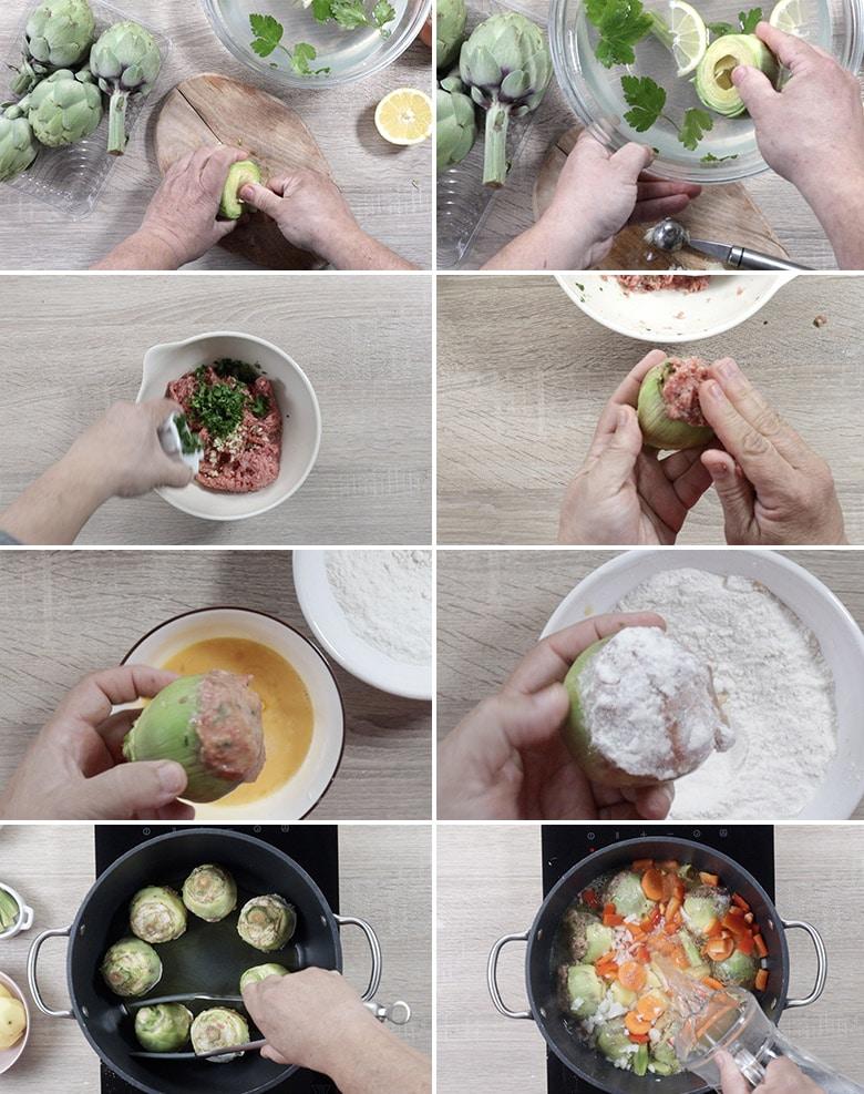 alcachofas rellenas de carne paso paso