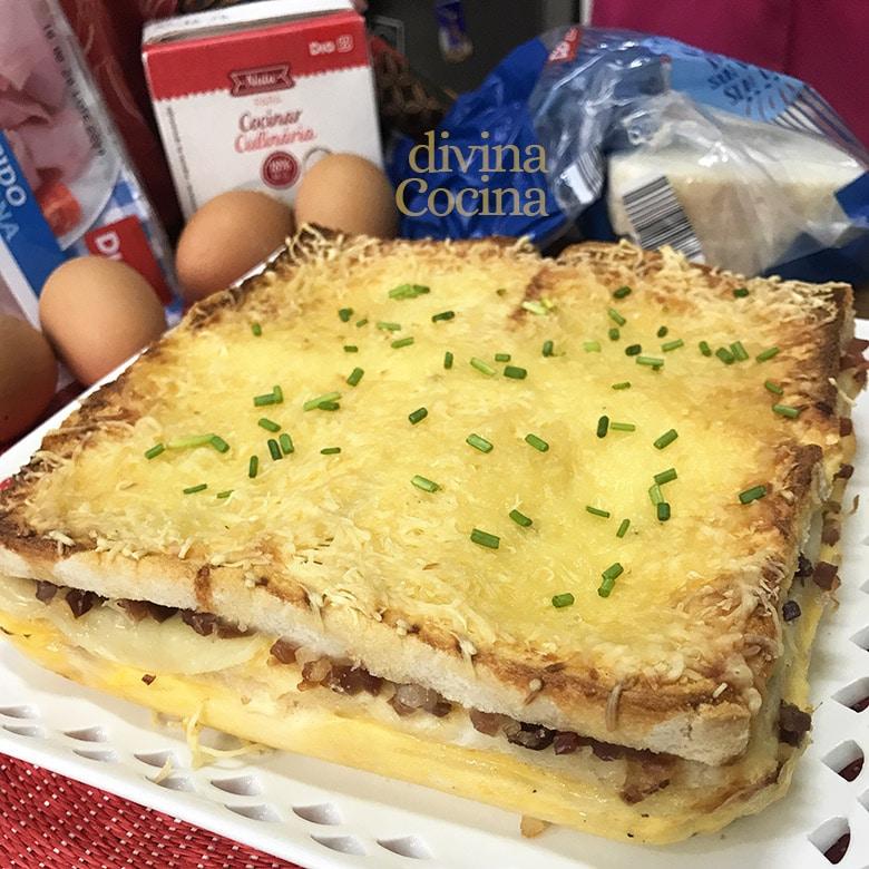 pastel de pan de molde jamon queso