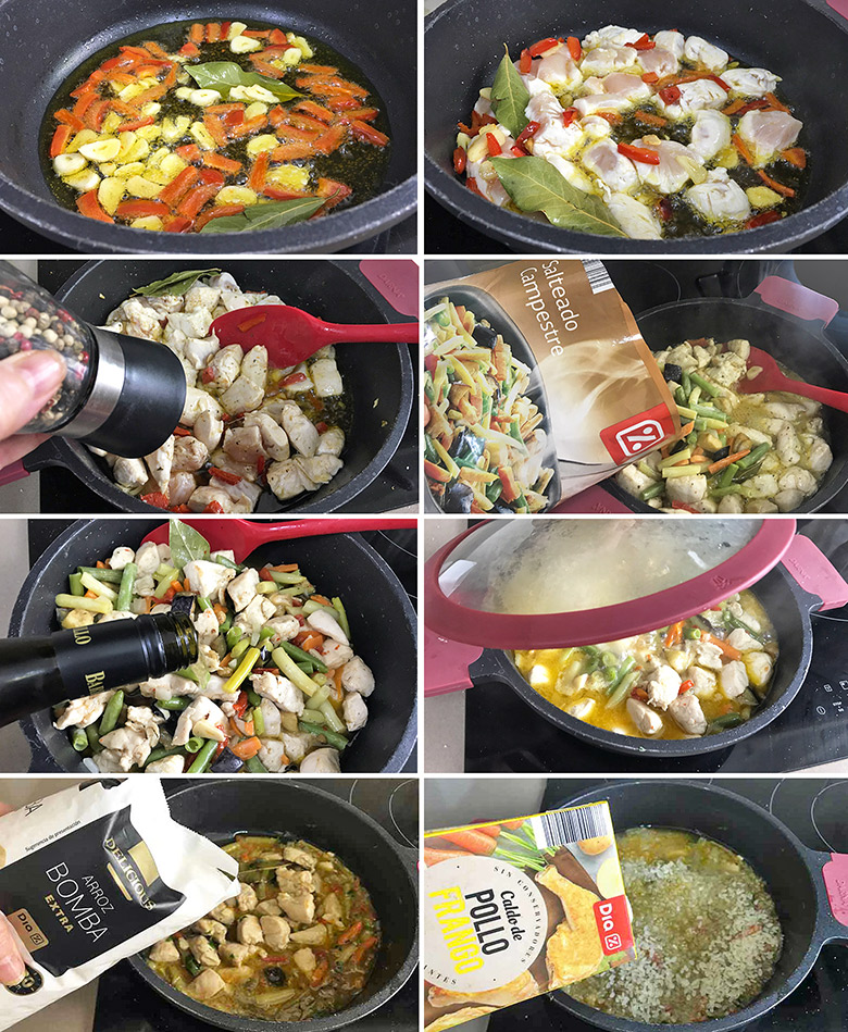 arroz con pollo y verduras paso a paso