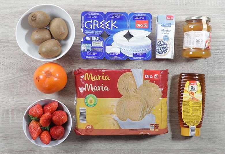 crema de yogur y frutas ingredientes