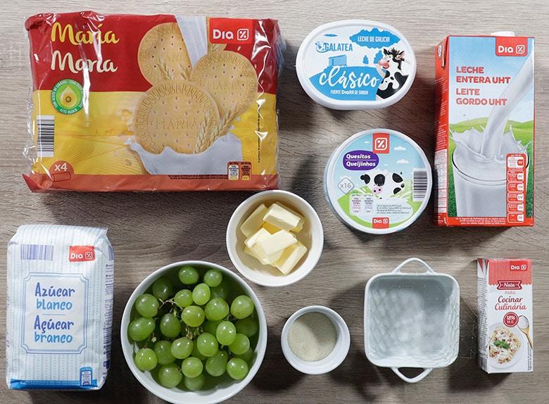 tarta de queso y uvas ingredientes