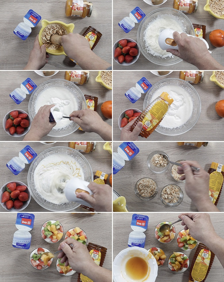 crema de yogur y frutas paso paso