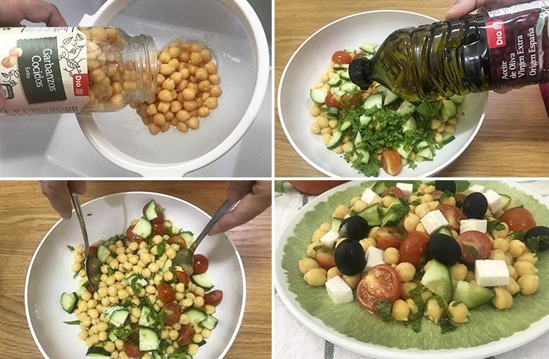 ensalada de garbanzos estilo griego paso paso